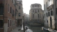 Quiet backstreet in early morning, far from tourist hotspots of Venice. Stock Footage