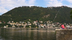 Summer day famous como lake bay side panorama 4k italy Stock Footage