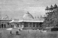 Tomb of Salim Chisti in Fatehpur Sikri, vintage engraving. Stock Illustration