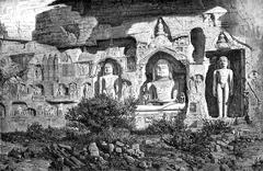 Colossi of Ourwahi, Adinath group, Gwalior. Drawing E.Therond, after a photog Stock Illustration