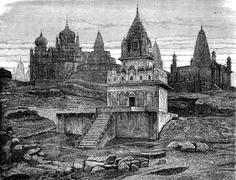 Jain temples has Sounghur, vintage engraving. Stock Illustration