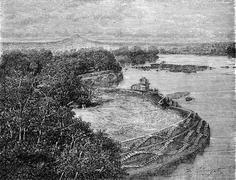 The bank of Lake Barua, vintage engraving. Stock Illustration