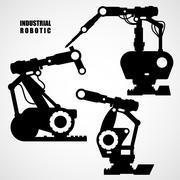 Industrial robotics - conveyor machinery tools silhouettes Stock Illustration
