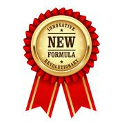 Golden award rosette with inscription revolutionary new innovative formula Stock Illustration