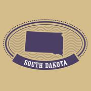 South Dakota map silhouette - oval stamp of state Stock Illustration