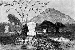 Graves Minahasa (sulawesi), vintage engraving. Stock Illustration