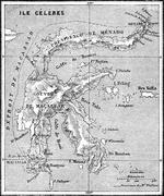 Map of Sulawesi island, vintage engraving. Stock Illustration