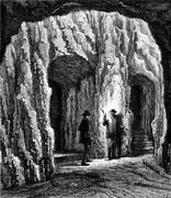 Cave Marienglashoehle, vintage engraving. Piirros