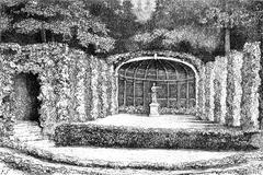 Theatre of greenery in the park of Belvedere in Weimar, vintage engraving. Stock Illustration