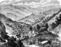 Town of Ho Boungou Salines, vintage engraving. Stock Illustration