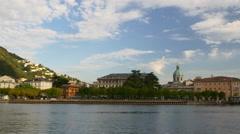 Summer evening famous lake como city pier panorama 4k italy Stock Footage