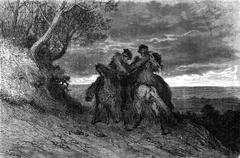 A Duel to the navaja, after the popular romance, vintage engraving. Stock Illustration