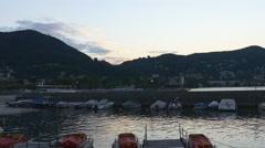 Summer twilight famous mountain como lake bay panorama 4k italy Stock Footage