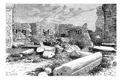 Pink Syenite Columns of the Crusader Cathedral Ruins in Tyre, Lebanon, vintag Stock Illustration