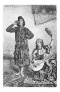 Mesopotamian Dancer and Musicians from Acre, Israel, vintage engraving Stock Illustration