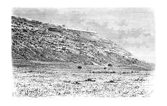 Mount Carmel as Viewed from the City of Haifa in Israel, vintage engraving Stock Illustration