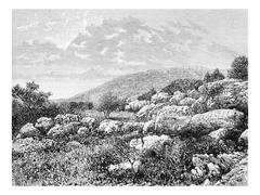 Mount Gerizim in Israel, vintage engraving Stock Illustration