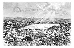 Site of the Temple on Mount Gerizim in Israel, vintage engraving Piirros