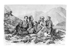 Camel Drivers Resting, vintage engraving Piirros