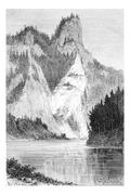 View of the Falkenfels and Mount Pionines, in the Tatra Mountains, Poland, dr Stock Illustration