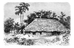 Typical Dwelling in the Town of Cuembi in Amazonas, Brazil, vintage engraving Stock Illustration