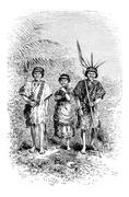 Civilized Indians of the Town of Cuembi in Amazonas, Brazil, vintage engravin Stock Illustration