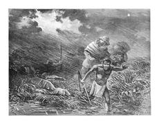 Explorers and Natives Braving a Storm in Amazonas, Brazil, vintage engraving Stock Illustration