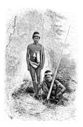 Indians of the Town of San Miguel in Amazonas, Brazil, vintage engraving Stock Illustration
