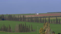 Panoramic shot of rural landscape in Nea Kallikrateia. Village, agricultural Stock Footage