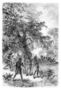 Arrival by Boat at the Village of Coreguaje in Amazonas, Brazil, drawing by R Stock Illustration