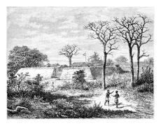 Caconda in Angola, Southern Africa, vintage engraving Stock Illustration