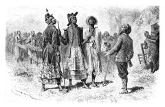Three Princes of Dombe in Congo, Central Africa, vintage engraving Stock Illustration