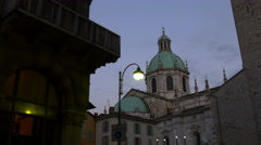 Summer twilight sky como city main cathedral top front panorama 4k italy Stock Footage