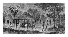 At the Tribal Meeting Place in Angola, Southern Africa, vintage engraving Stock Illustration