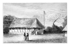 Belmonte House in Angola in Southern Africa, vintage engraving Stock Illustration