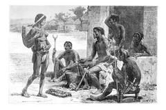 Men, Women and Tools of the Luchazes, vintage engraving Stock Illustration