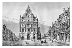 Northern and Anspach Boulevards and the Place de Brouckere, vintage engraving Stock Illustration