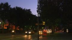 Summer night como lake city traffic street side panorama 4k italy Stock Footage
