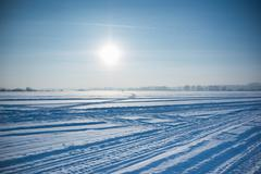 Ice cold desert sun and winter's day in Siberia Stock Photos