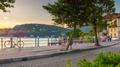 Famous como lake sunset bay traffic panorama 4k time lapse italy Stock Footage
