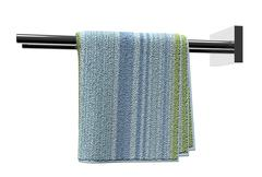 Chrome towel holder rods, with a cotton bathroom towel, isolated against a wh Stock Illustration