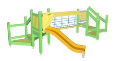 Kiddie Slide and Crawling Net, 3D illustration Stock Illustration