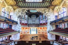 Concert Hall in Music Palace by Gaudi, Barcelona, Spain Stock Photos
