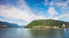Summer day famous como lake blue sky mountains panorama 4k time lapse italy Stock Footage