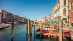 Day venice rialto bridge canal side panorama 4k time lapse italy Stock Footage