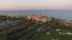 Aerial 4K. Flying above Palm Beach, luxury place for living and vacation. Stock Footage