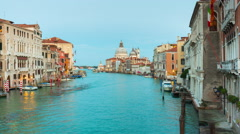 Venice grand canal santa maria della salute panorama 4k time lapse italy Stock Footage
