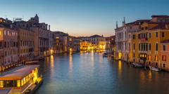Night venice ponte dell accademia grand canal panorama 4k time lapse italy Stock Footage