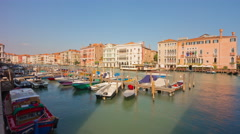 Day venice boat parking traffic market bay panorama 4k time lapse italy Stock Footage