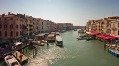 Day venice rialto bridge grand canal traffic panorama 4k time lapse italy Stock Footage